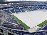 Поле стадиона «Черноморец» накрыто пленкой