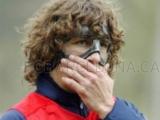 Пуйоль провел первую тренировку в защитной маске