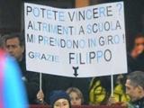 Юный фанат «Интера» вывесил баннер с просьбой победить, иначе его засмеют в школе (ФОТО)