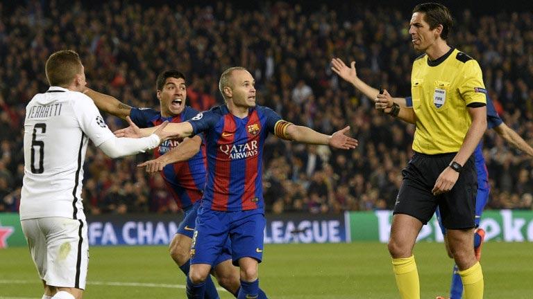 Коллина хочет наказать арбитра матча Барселона - ПСЖ